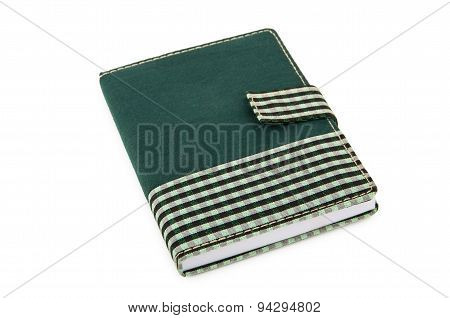 Notepad In Checkered Cloth Cover With Clip On White