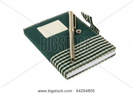 Notepad In Checkered Cloth Cover With Clip And Pen