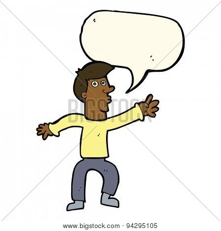 cartoon reaching man with speech bubble
