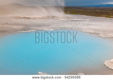 Incredibly blue pool Blahver at Hveravellir is actually a hot geothermal spring in the heart of Iceland.