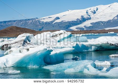 Detailed photo of the Icelandic glacier icebergs in a ice lagoon with incredibly vivid colors and a nice texture