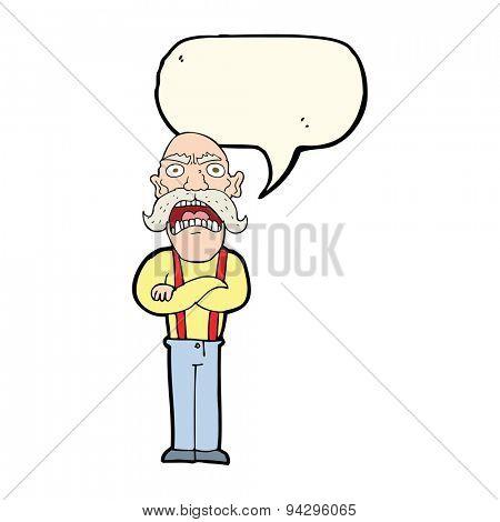 cartoon shocked old man with speech bubble