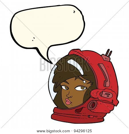 cartoon female astronaut with speech bubble