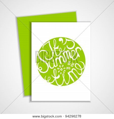 Card with green summer lettering element