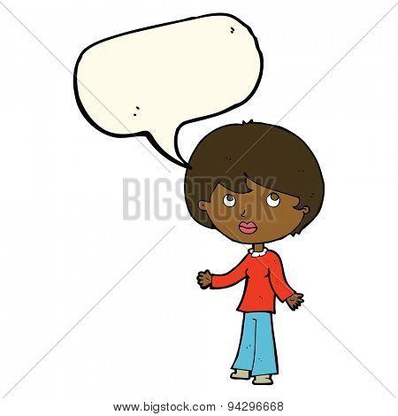 cartoon woman thinking with speech bubble