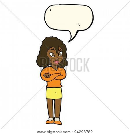 cartoon woman with crossed arms with speech bubble