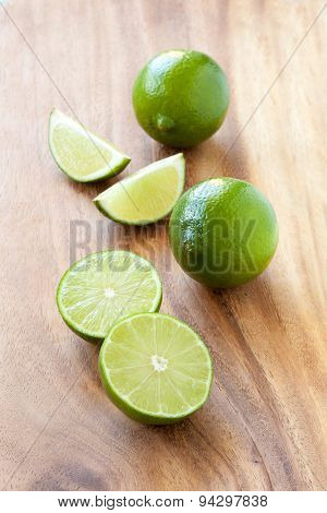Limes On Cutting Board