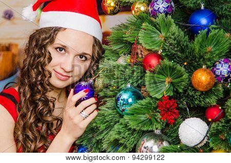 Young Girl Holding A Christmas Tree Christmas Ball