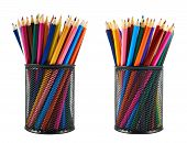stock photo of foreshortening  - Black pencil holder full of colorful pencils isolated over white background - JPG