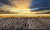 picture of sea-scape  - wood terrace and golden light on sea water - JPG