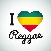stock photo of rastafari  - I love Reggae Heart illustration - JPG