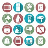 stock photo of washing machine  - set of household appliances flat icons on colorful round web buttons with a washing machine stove fridge lamp kettle coffee machine and toaster - JPG