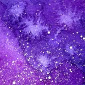 picture of cosmic  - vector abstract violet watercolor cosmic background with white splashes - JPG