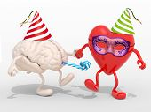 pic of blowers  - human brain and heart with arms legs party cap mask blowers isolated 3d illustration - JPG