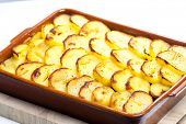 pic of baked potato  - potatoes baked with pork minced meat and red cabbage - JPG