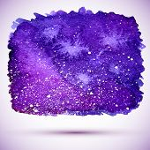 picture of cosmic  - vector watercolor cosmic banner in violet colors and with shadow - JPG
