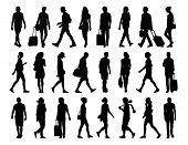 foto of ordinary woman  - big set of black silhouettes of ung adult men and women walking in the street front profile and back views - JPG
