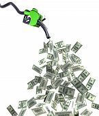 stock photo of fuel economy  - fuel nozzle with dollar banknotes 3d illustration - JPG