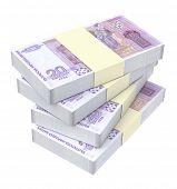 pic of bundle money  - Bulgarian money isolated on white background - JPG