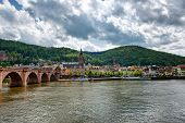 picture of old bridge  - Old Bridge Over Neckar River with View of Old Town Heidelberg - JPG