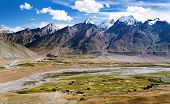 stock photo of jammu kashmir  - View of Zanskar valley around Padum village and great himalayan range  - JPG