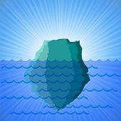 stock photo of iceberg  - Big Snow Iceberg on Blue Water  Background - JPG