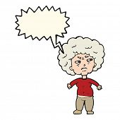 picture of annoyance  - cartoon annoyed old woman with speech bubble - JPG