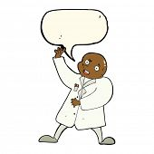 image of mad scientist  - cartoon mad scientist with speech bubble - JPG