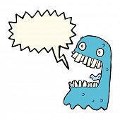 image of grossed out  - cartoon gross ghost with speech bubble - JPG