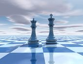 image of surreal  - abstract surreal background with chess figures chessboard and sky - JPG