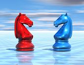 stock photo of chessboard  - chess background with chessboard and horse figurines illustration - JPG