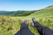 picture of blue ridge mountains  - Rest in active hiking in the mountains  - JPG
