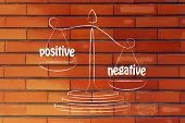 image of positive negative  - more cons than pros metaphor of balance measuring the positive and the negative - JPG