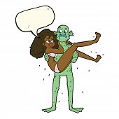 picture of swamps  - cartoon swamp monster carrying woman in bikini with speech bubble - JPG