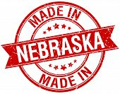 picture of nebraska  - made in Nebraska red round vintage stamp - JPG
