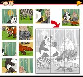 stock photo of brain-teaser  - Cartoon Illustration of Education Jigsaw Puzzle Game for Preschool Children with Wild Animals Characters Group - JPG