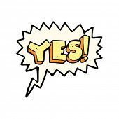 stock photo of yes  - cartoon yes symbol with speech bubble - JPG