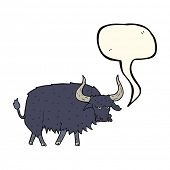 pic of annoyance  - cartoon annoyed hairy ox with speech bubble - JPG
