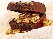 picture of treasure chest  - Treasure chest with gold coins and a treasure map - JPG