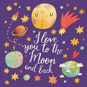 stock photo of spaceships  - I love you to the moon and back - JPG