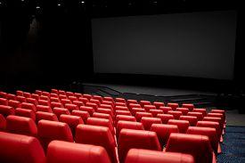 stock photo of cinema auditorium  - entertainment and leisure concept  - JPG