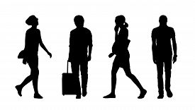 stock photo of ordinary woman  - silhouettes of ordinary young men and women walking outdoor summertime - JPG