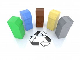 image of recycle bin  - recycling bins with recycling mark 3d illustration - JPG