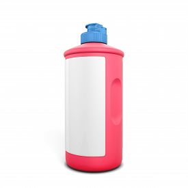 image of detergent  - Red bottle of detergent isolated on white background - JPG
