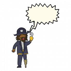 pic of peg-leg  - cartoon pirate captain with speech bubble - JPG