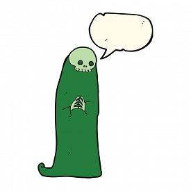 foto of ghoul  - cartoon halloween ghoul with speech bubble - JPG