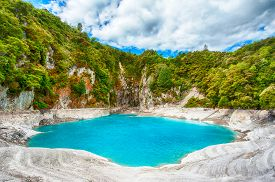 image of incredible  - Incredibly blue and highly acidic Inferno Crater Lake at Waimangu geothermal area - JPG