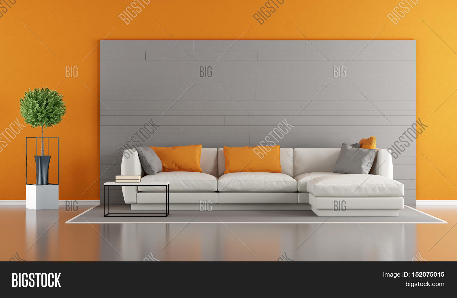 Gray and orange modern living room stock photo stock images