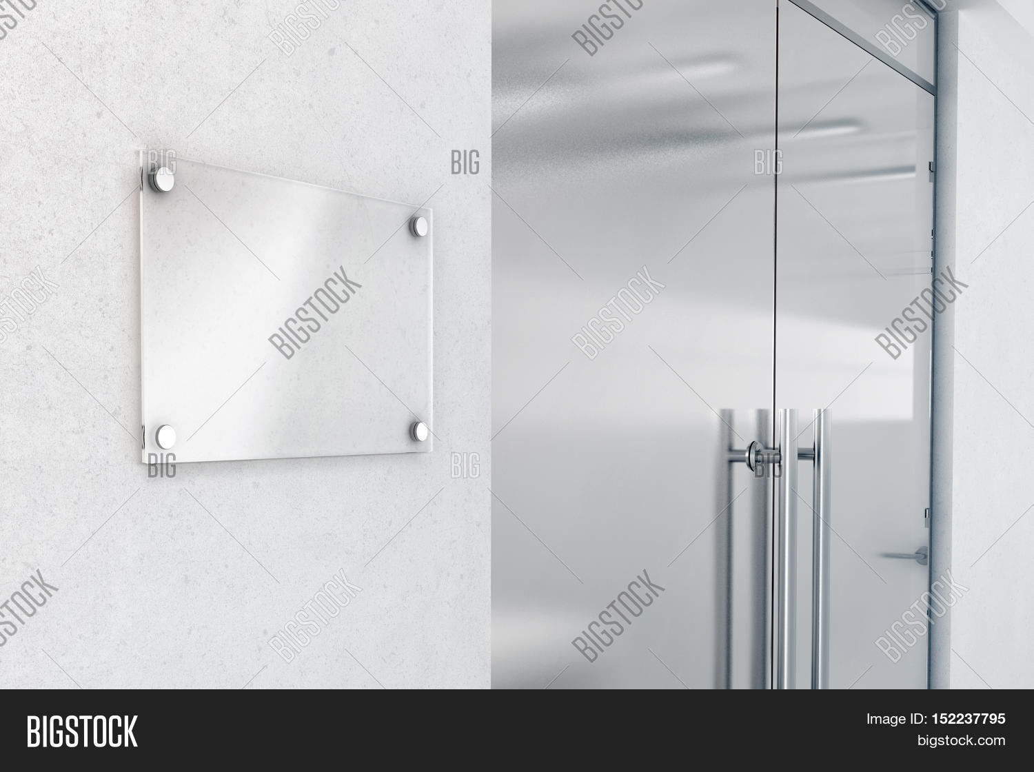 Blank Glass Nameplate Design Mockup 3d Rendering Signplate Mock Up On The Wall Near Office