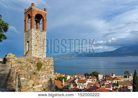 Clock tower in Nafpaktos town, Western Greece
